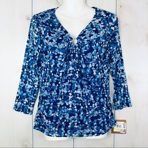 NWT Ellen Tracy Blue Circle Print Blouse Medium